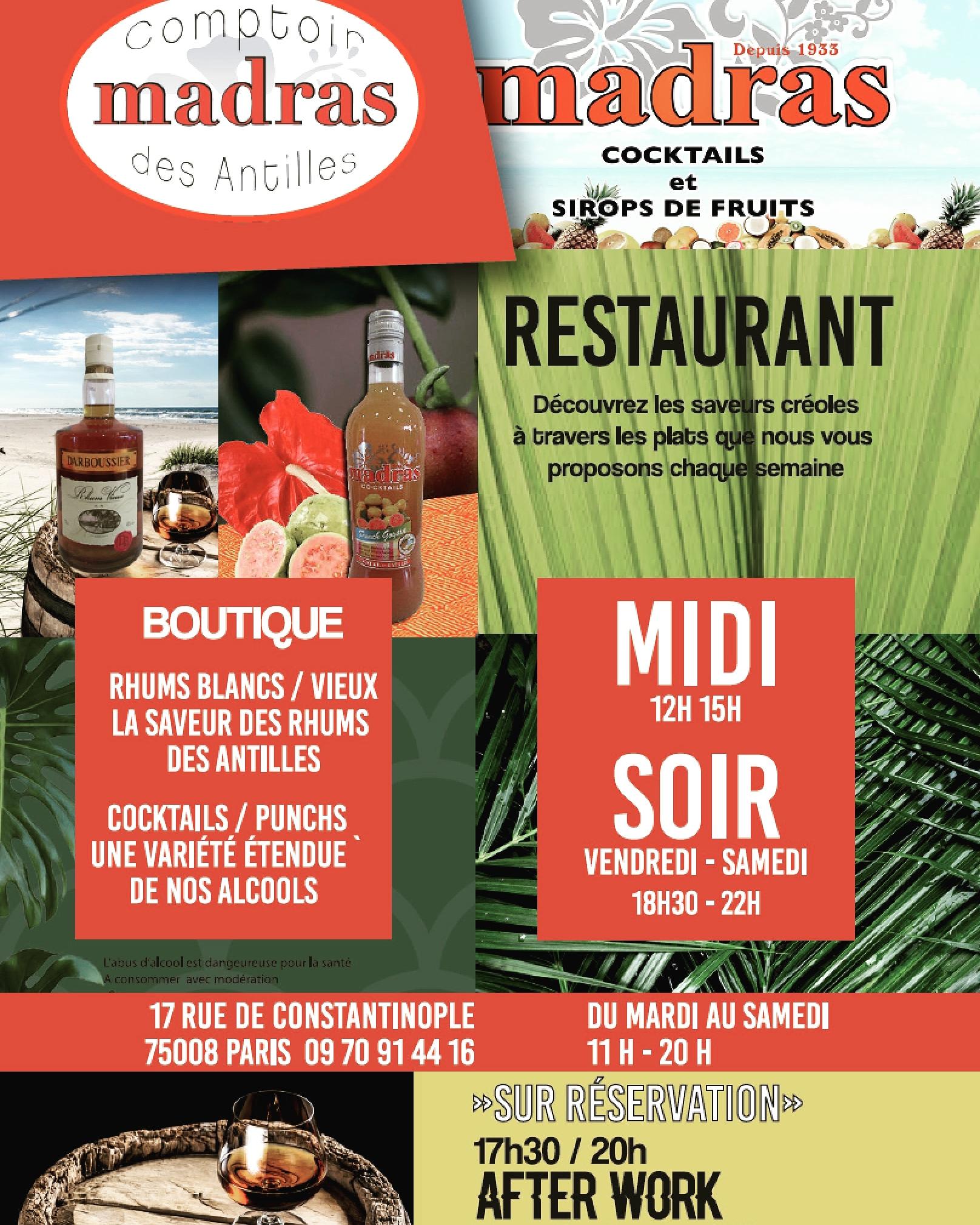 Rhumerie et restaurant Comptoir Madras des Antilles